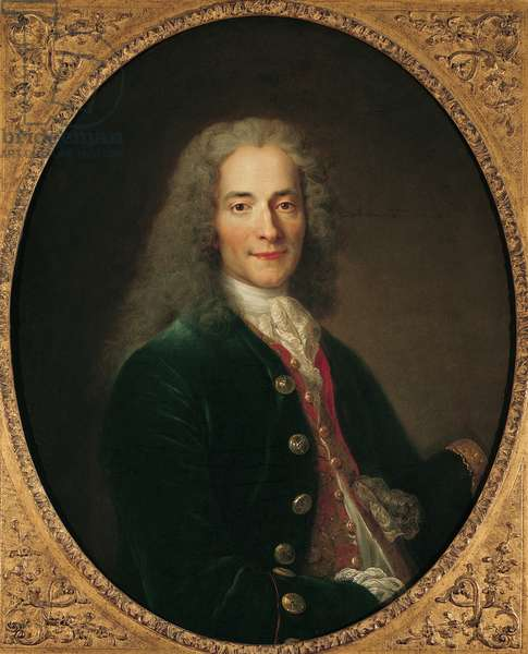 Portrait of Voltaire (1694-1778) after 1718 (oil on canvas)