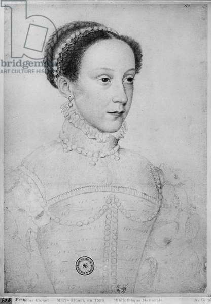 Mary Queen of Scots, 1559 (pencil on paper) (b/w photo)