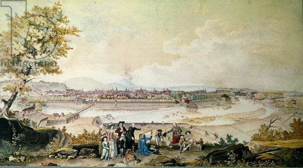 Visit of Louis Philippe Joseph (1747-93) Duke of Orleans to Besancon in 1780 (w/c on paper)