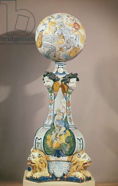 Celestial sphere on a pedestal with four lions, 1725 (ceramic)