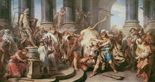 Theseus conquering the bull at Marathon, 1732-34 (oil on canvas)