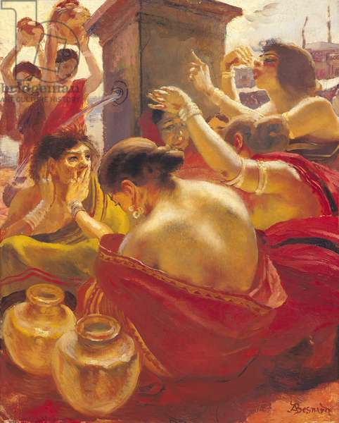 Women of Madura at a Fountain (oil on canvas)