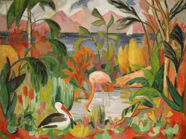 Colourful Landscape with Aquatic Birds (oil on canvas)