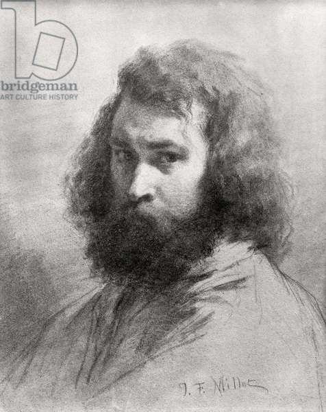 Self Portrait, c.1845-46 (charcoal and pencil on paper) (b/w photo)