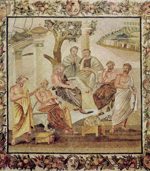 Plato Conversing with his Pupils, from the House of T. Siminius, Pompeii (mosaic) (see also 156873)