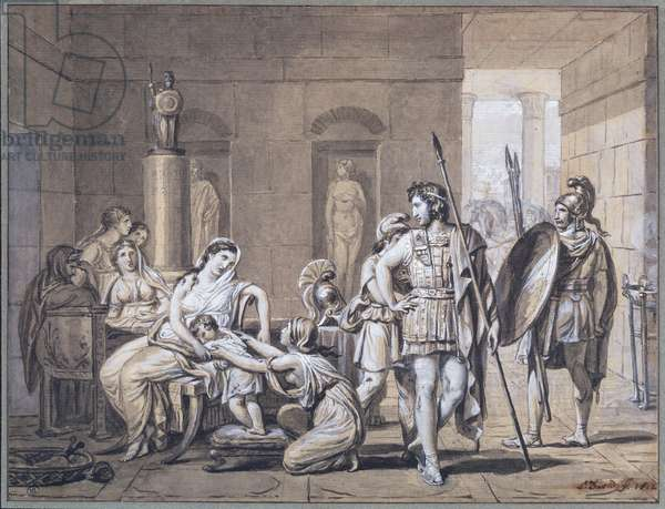 The Departure of Hector, c.1812 (pen & ink and pencil on paper)