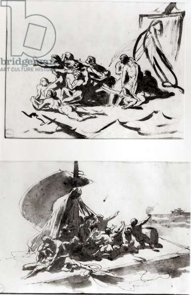 Two sketches for The Raft of the Medusa, c.1819 (pen & ink and wash)