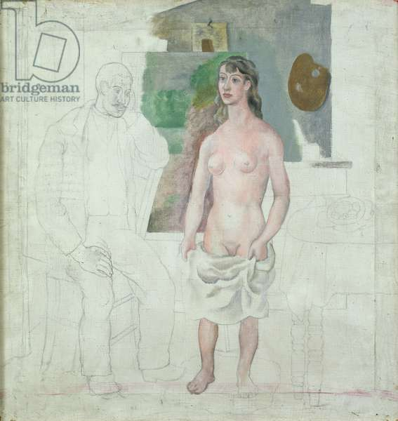 The Artist and his Model, 1914 (oil & pencil on canvas)