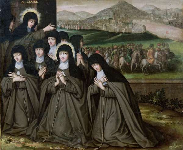 St. Claire with her Sister, Agnes and Nuns (oil on canvas)