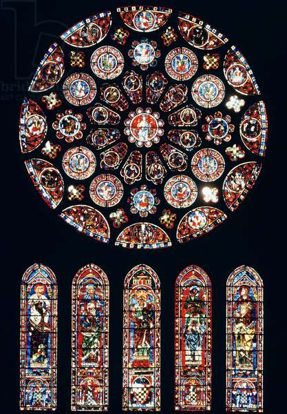 Rose and lancet windows from the south wall, c.1224 (stained glass)