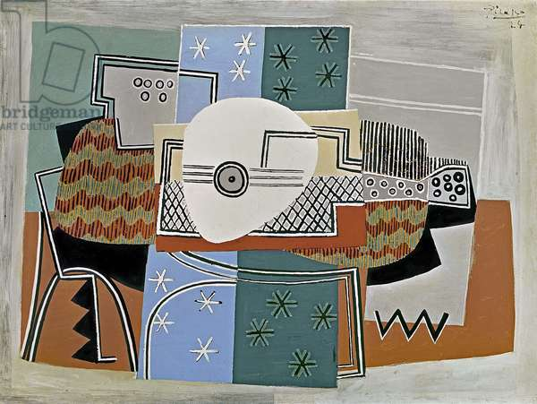 Still Life with a Guitar, 1924 (oil on canvas)