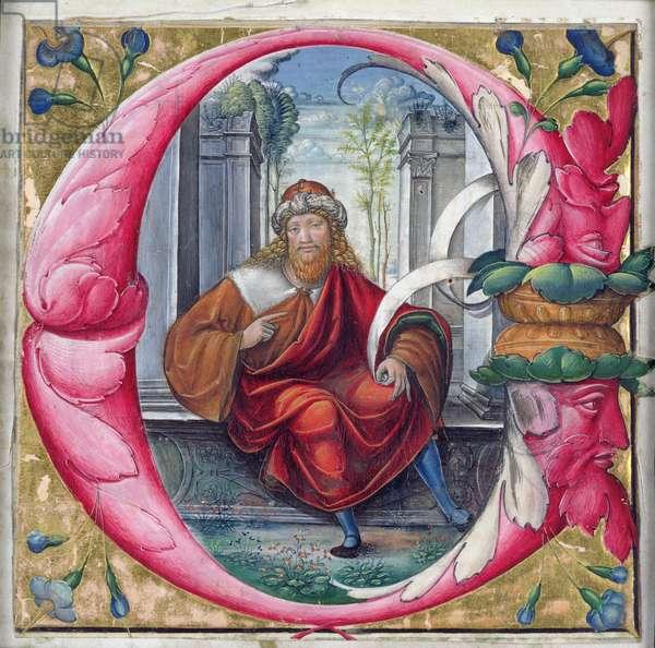 Historiated initial 'C' or 'O' depicting King David (vellum)