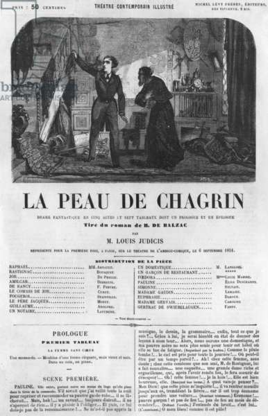 Raphael de Valentin and the shopkeeper, illustration from 'La Peau de Chagrin', drama adapted from the novel by Honore de Balzac (1799-1850) (engraving) (b/w photo)