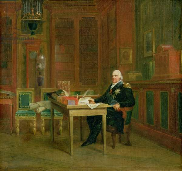 Louis XVIII (1755-1824) in his Study at the Tuileries (oil on canvas)