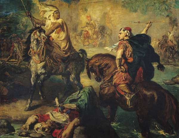 Arab Tribal Chiefs in Single Combat, under the Ramparts of a Town, 1852 (oil on canvas)