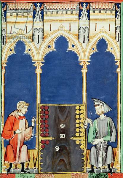 Fol.85v  Two Backgammon Players, from the 'Book of Games, Chess, Dice and Boards', 1282 (vellum)