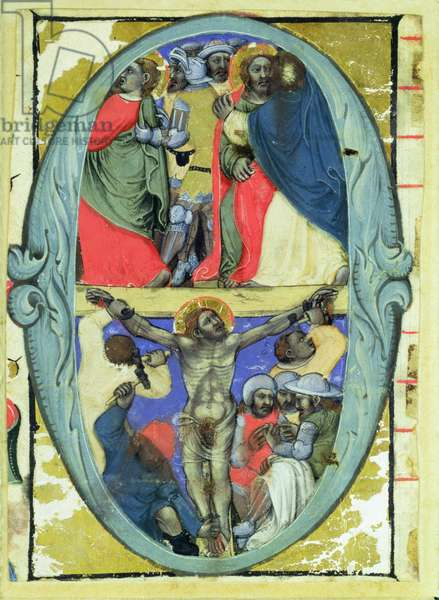 Historiated initial 'O' depicting the Kiss of Judas and the Crucifixion, c.1370 (vellum)