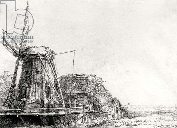 The Mill, 1641 (engraving) (b/w photo)