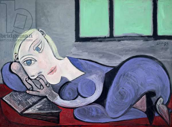 Woman Reclining Reading, 21st January 1939 (oil on canvas)
