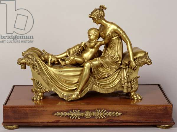 Frightened by the dog, c.1800 (gilded bronze)