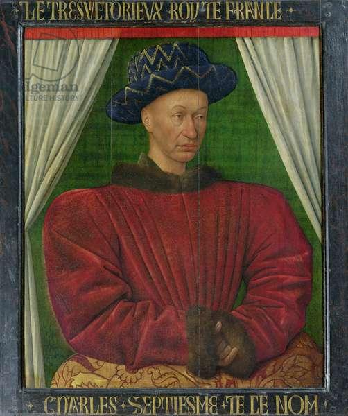 Portrait of Charles VII, c.1445-50 (oil on panel)