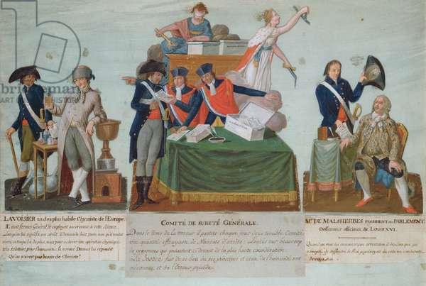 Lavoisier, the Comite de Surete Generale and Malesherbes, 18th century (gouache)
