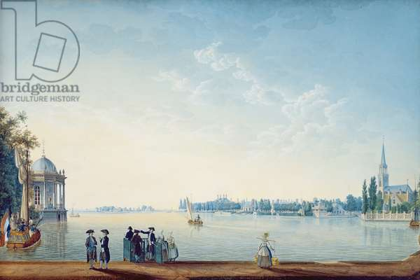Havenrak to Broek in Waterland, or The City of Zwolle on the banks of the Ijssel in Holland, 1814 (gouache on paper)
