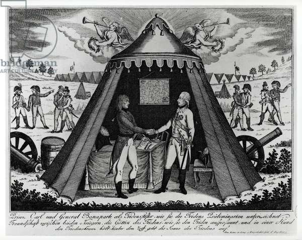 The Treaty of Campo Formio, 18th October 1797 (engraving) (b/w photo)