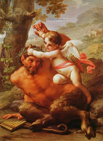 Cupid and Pan (oil on canvas)