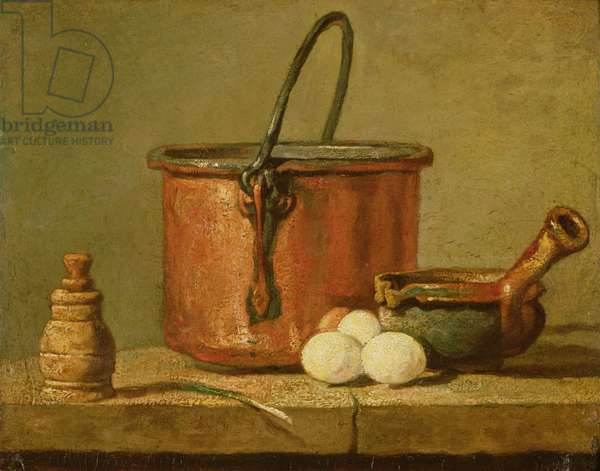 Still Life of Cooking Utensils, Cauldron, Frying Pan and Eggs (oil on canvas)