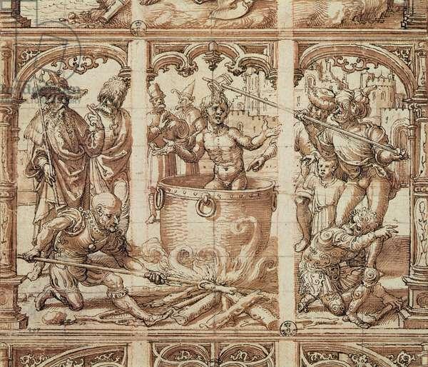 Martyrdom of Saint John the Evangelist (wash on paper)
