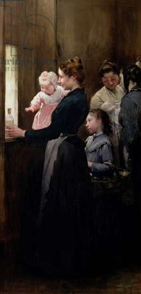 The Drop of Milk in Belleville: Doctor Variot's Surgery, The Distribution of the Milk, 1903 (oil on canvas)