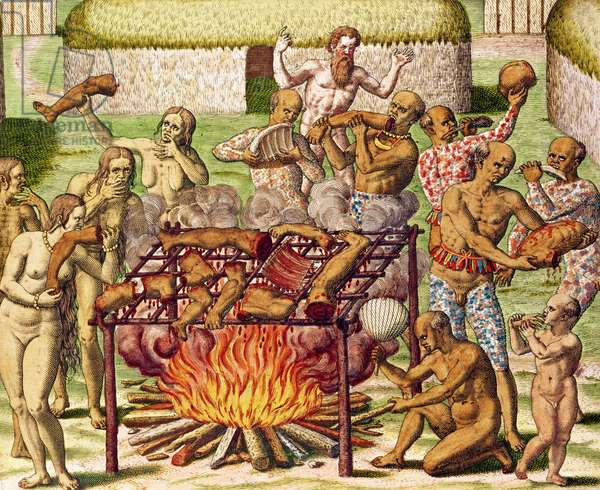 Scene of cannibalism, from 'Americae Tertia Pars...', 1592 (colour engraving)