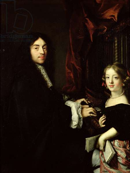 Portrait of Charles Couperin (1638-79) and the Daughter of the Artist, 1665-79 (oil on canvas)