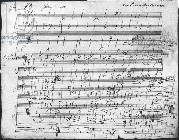 Autograph score sheet for the 10th Bagatelle opus 119 (pen & ink on paper) (b/w photo)