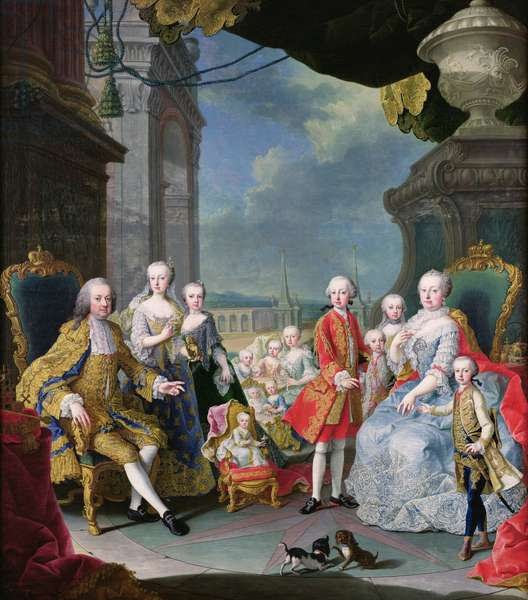 Franz Stephan I (1708-65) with his wife Marie-Therese (1717-80) and their children (oil on canvas)