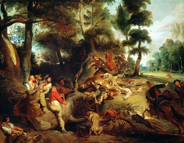The Wild Boar Hunt, after a painting by Rubens, c.1840-50 (oil on canvas)