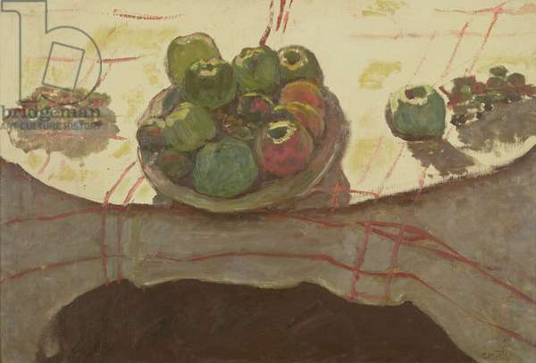 Plate of apples on a table, c.1910-12 (oil on canvas)