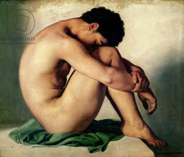 Study of a Nude Young Man, 1836 (oil on canvas)