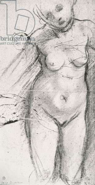 Knee Length Study of a Nude Woman (charcoal on paper) (b/w photo)