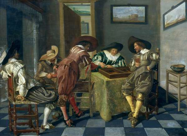 The Game of Backgammon (oil on panel)