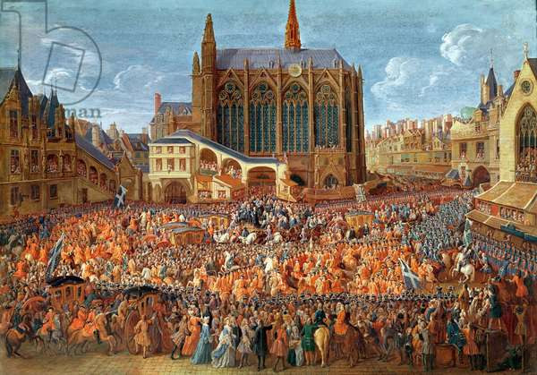 The Departure of Louis XV (1710-74) from Sainte-Chapelle after the 'lit de justice' which ended the reign of Louis XIV (1638-1715) 12th September 1715, 1735 (gouache on paper) (see also 162641)