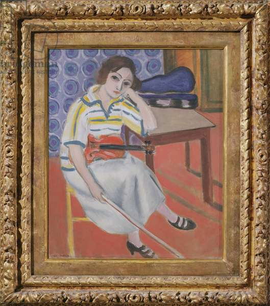 Woman with violin, c.1921-23 (oil on canvas)