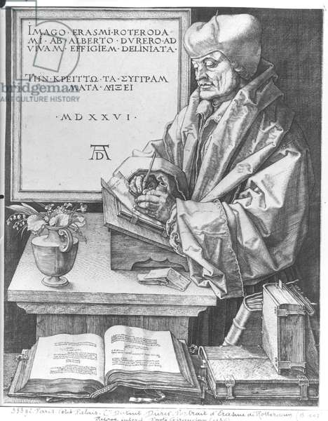 Desiderius Erasmus (1466-1536) of Rotterdam, 1526 (engraving)