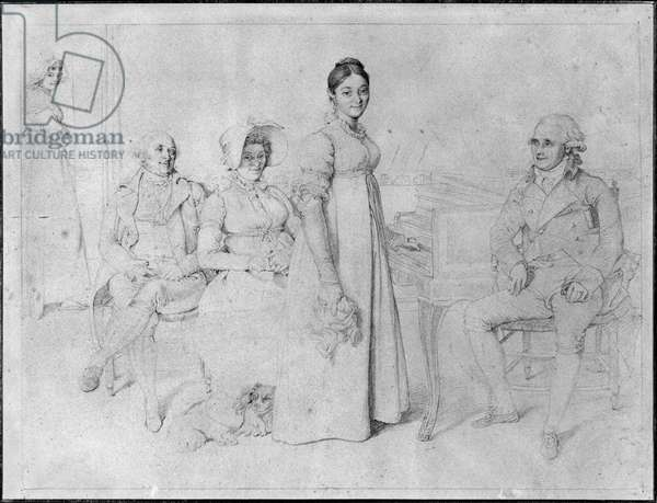 The Forestier Family (graphite on paper) (b/w photo) (see also 233241)