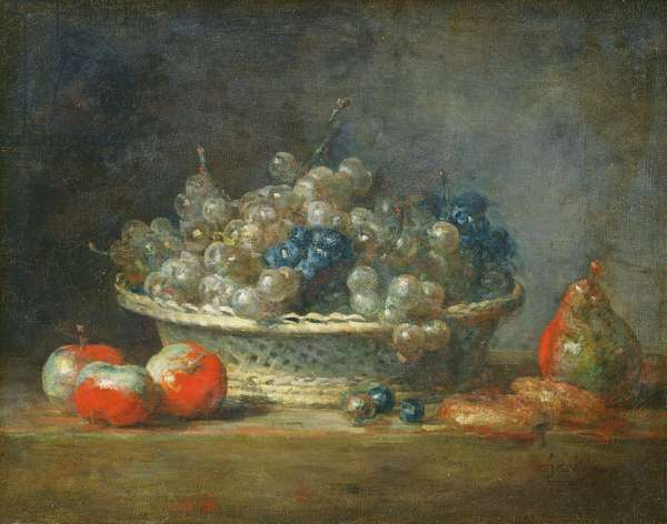 Still life: grape basket with three apples, a pear and two marzipans, 1764 (oil on canvas)