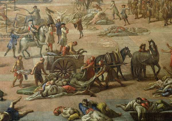 View of the Town Hall, Marseilles, during the Plague of 1720, detail of the carts laden with the dead (oil on canvas) (detail of 52281)