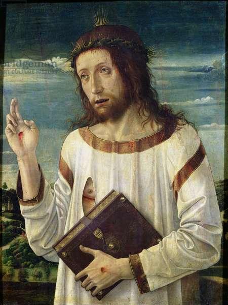 Christ Blessing (oil on panel)