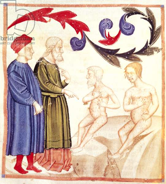 Dante, Virgil and the Plague-stricken, from 'The Divine Comedy' by Dante Alighieri (1265-1321) (vellum)