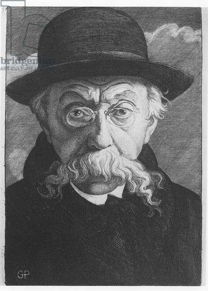 Emile Verhaeren, illustration for 'Les Forces Tumultueuses' (b/w photo)